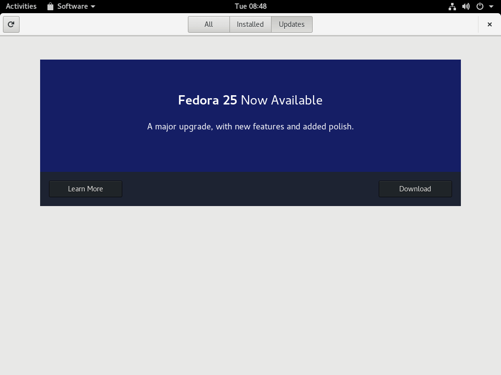 Upgrade from Fedora 24 to Fedora 25 using Software application