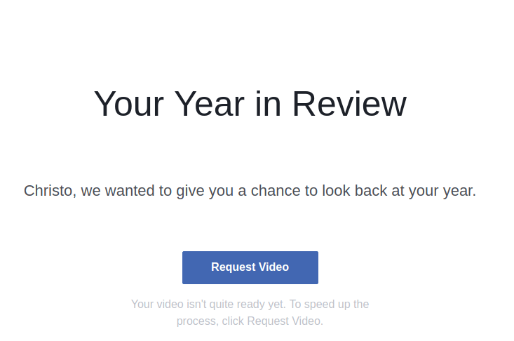 Request Facebook Year in Review Video
