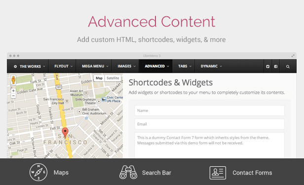 UberMenu Advanced Content Integration