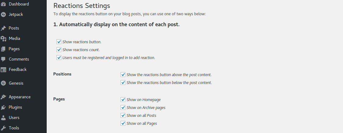 DW Reactions Pro Plugin Configuration Settings Page
