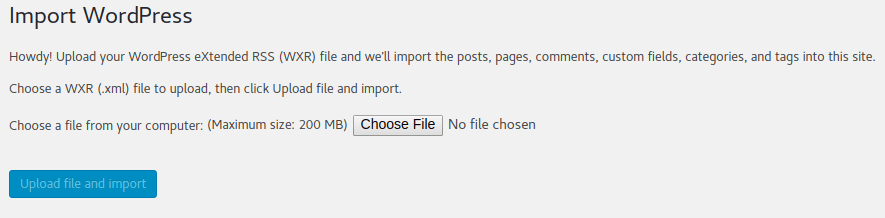 Import XML file to WordPress