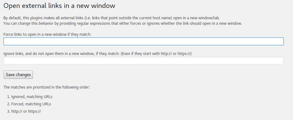 Open external links in new tab settings