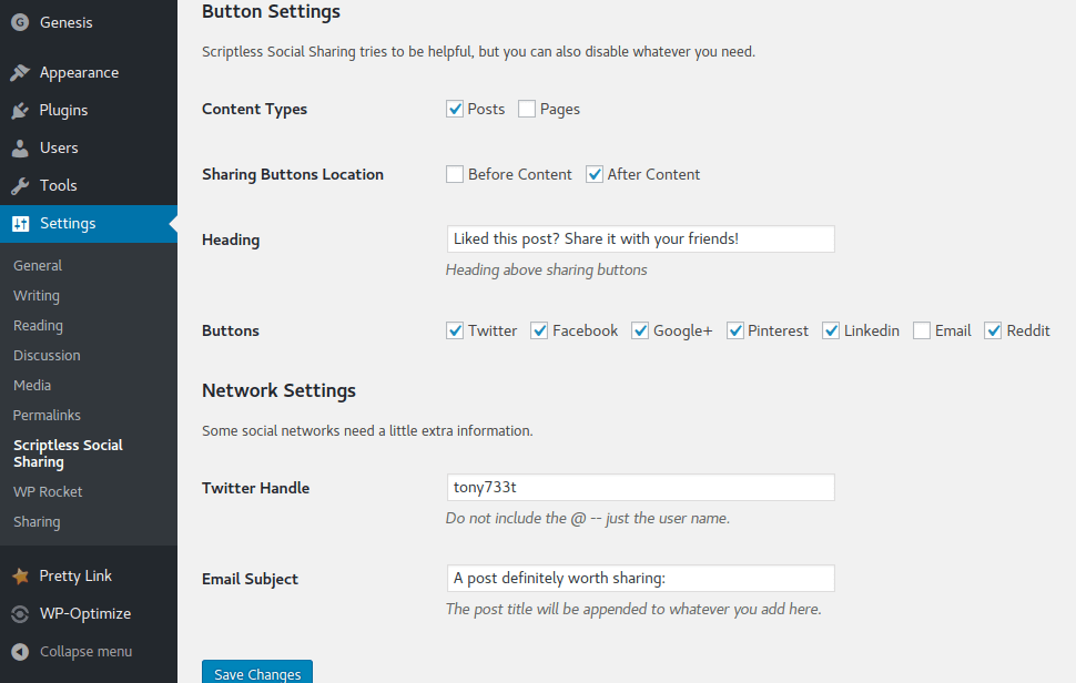 Scriptless Social Sharing Button & Network Styles
