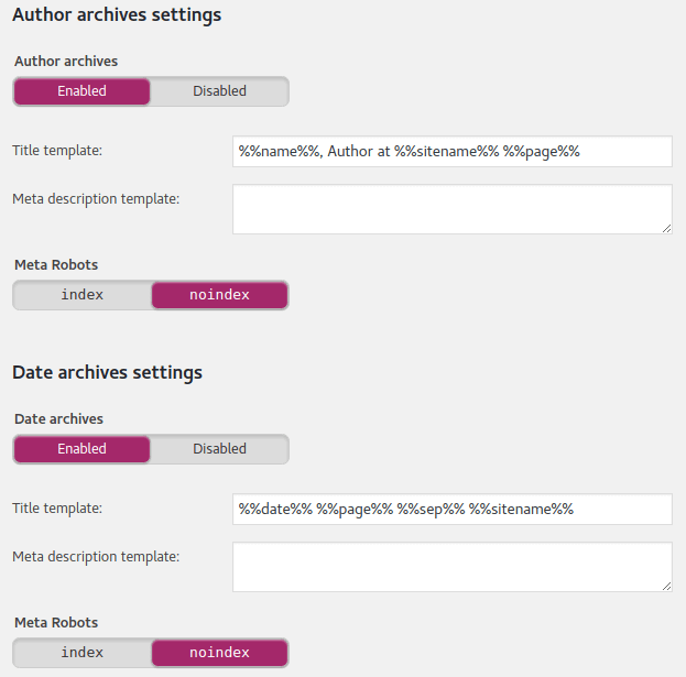 Yoast Archives Settings