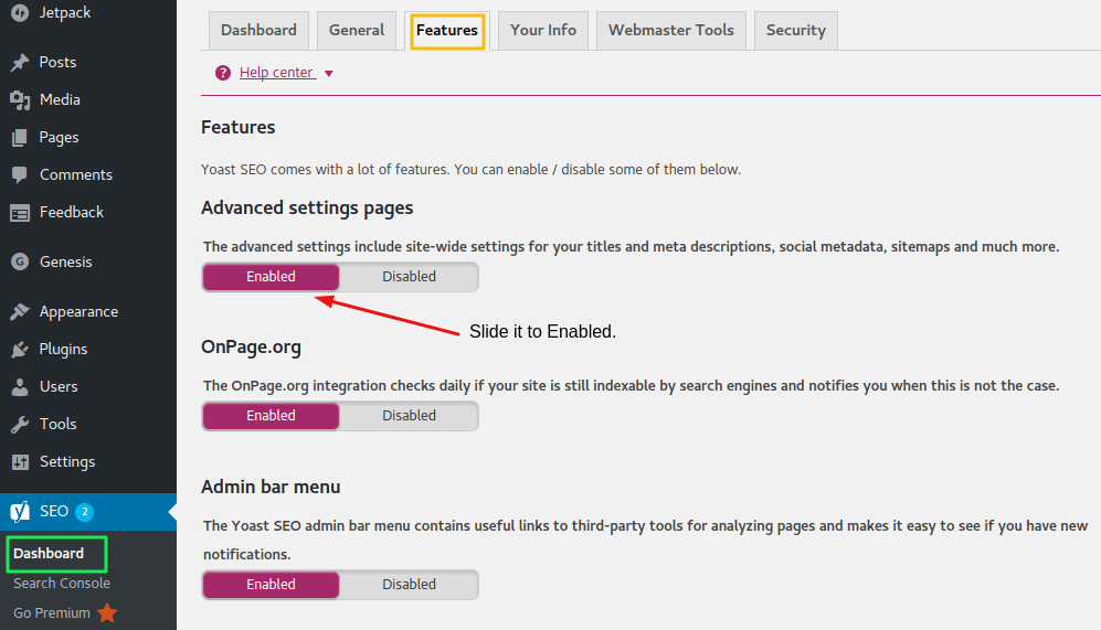 Yoast Enable Advanced Settings page