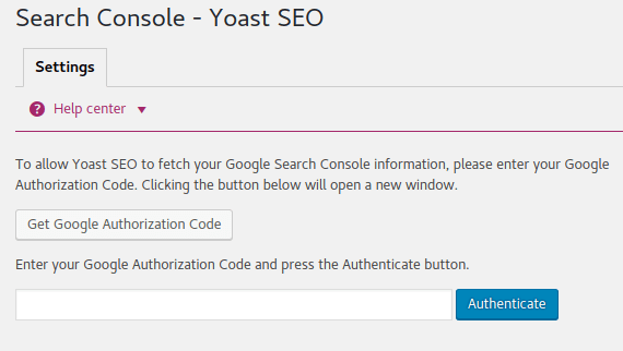 Yoast Google Search Console Authorization