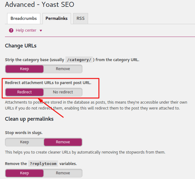 Yoast Permalinks Settings