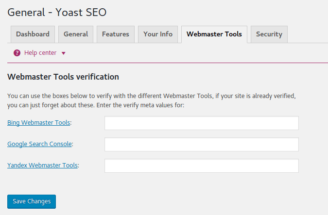 Yoast Webmaster Tools Verification