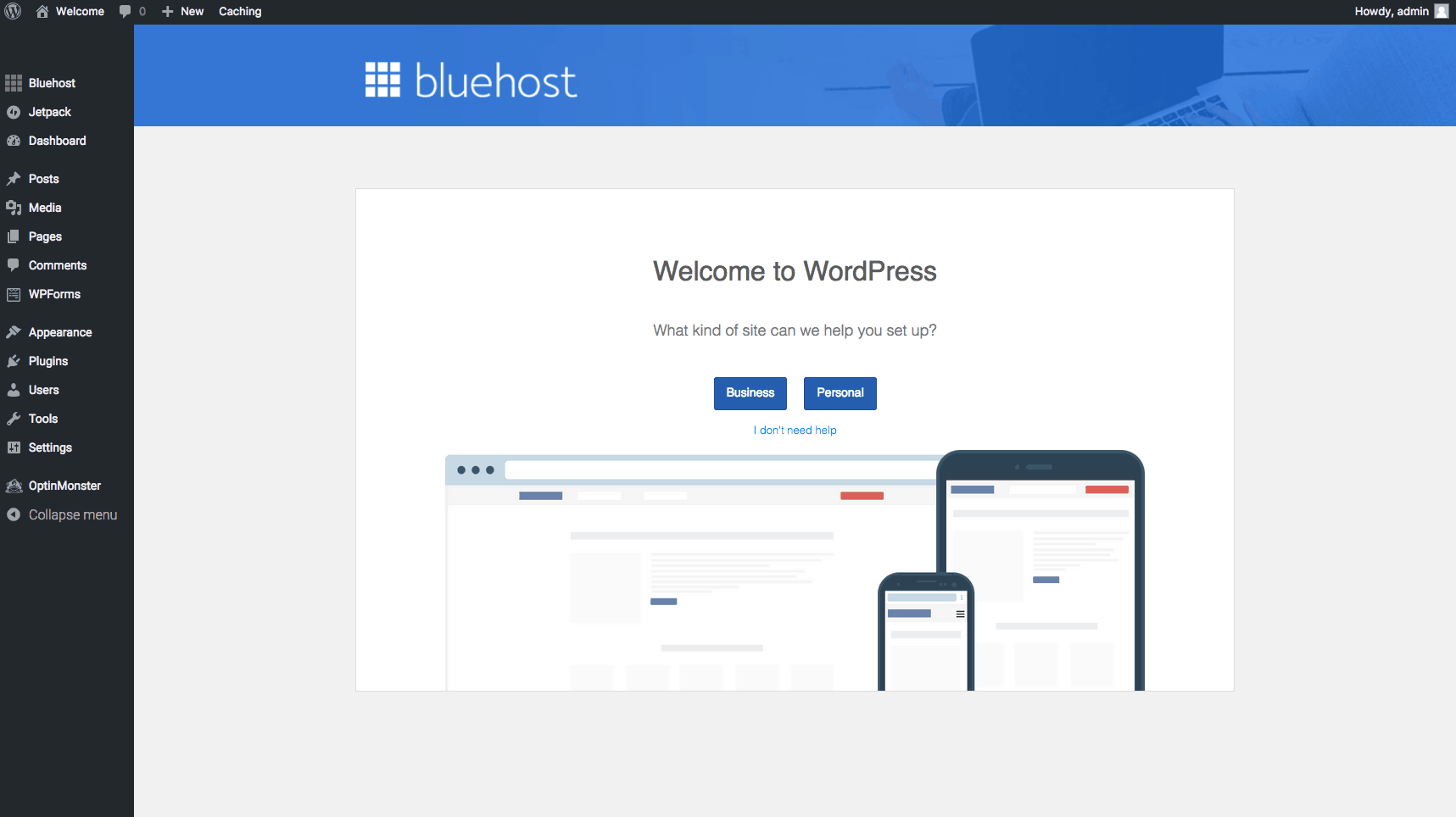 Bluehost Custom WordPress Dashboard