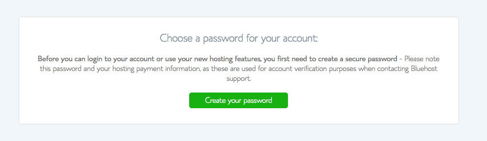 Create Password for Bluehost Account