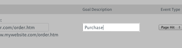 AWeber Goal Description tab