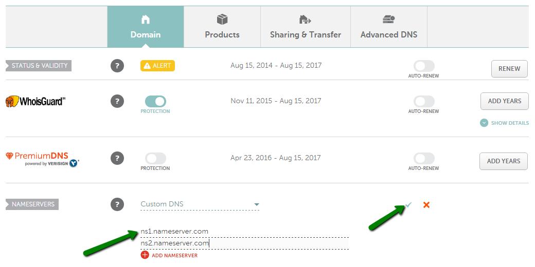 Set Custom Nameservers on Namecheap