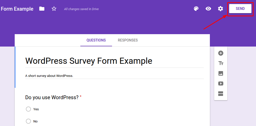 Google Forms Send Button Example