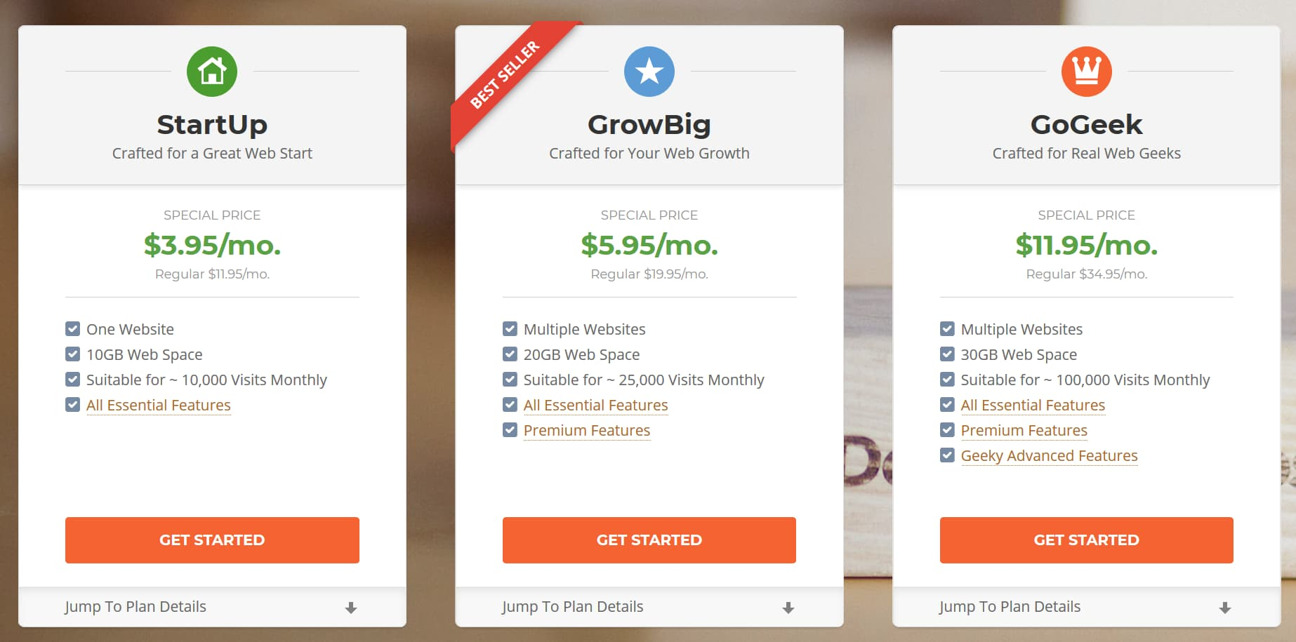 SiteGround Christmas and New Year Sale Shared Web Hosting Plan Details