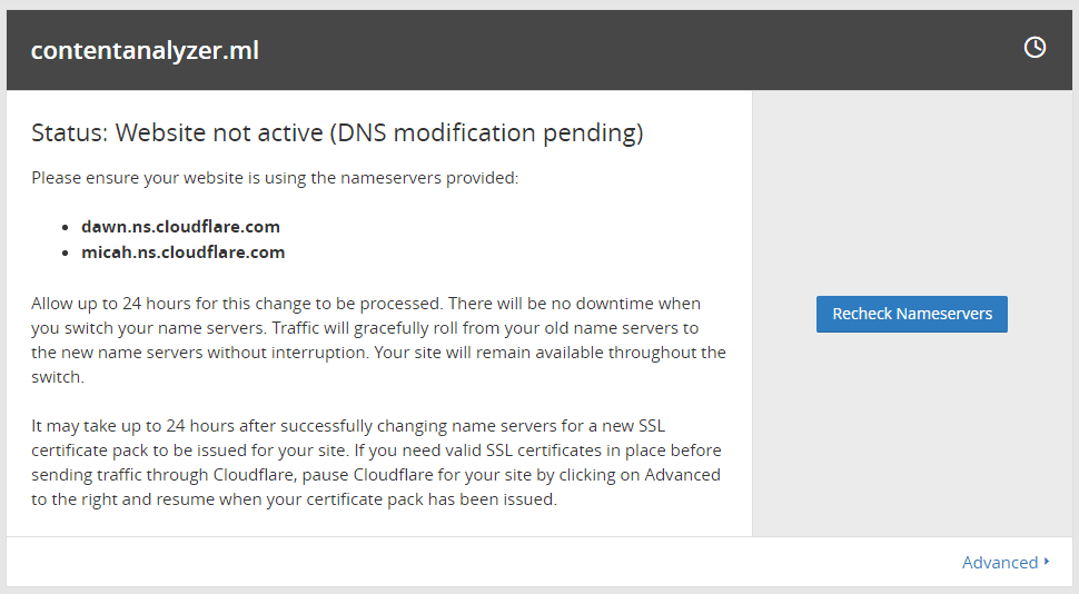 Recheck Cloudflare Nameservers