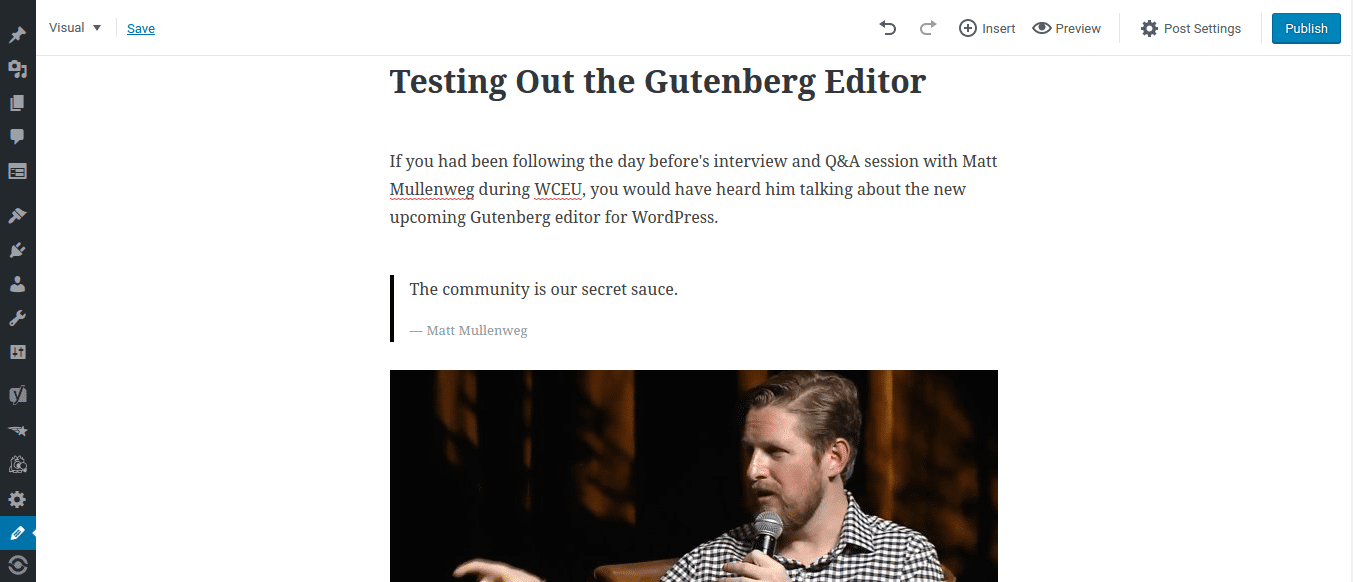 WordPress Gutenberg Editor Distraction Free Mode