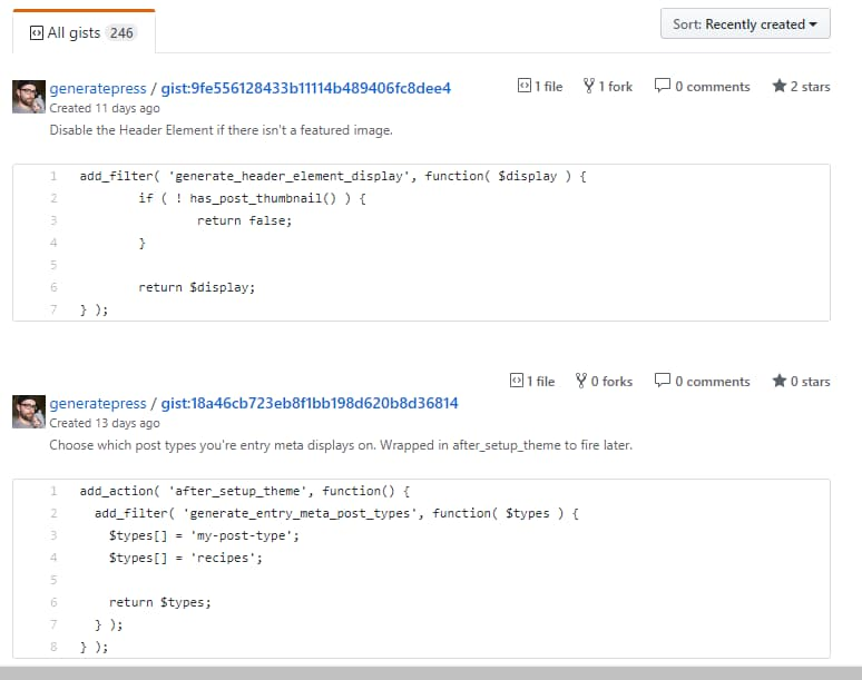 generatepress gists or code snippets