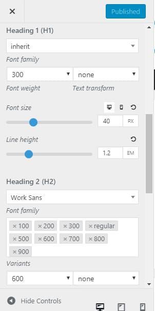 generatepress heading typography