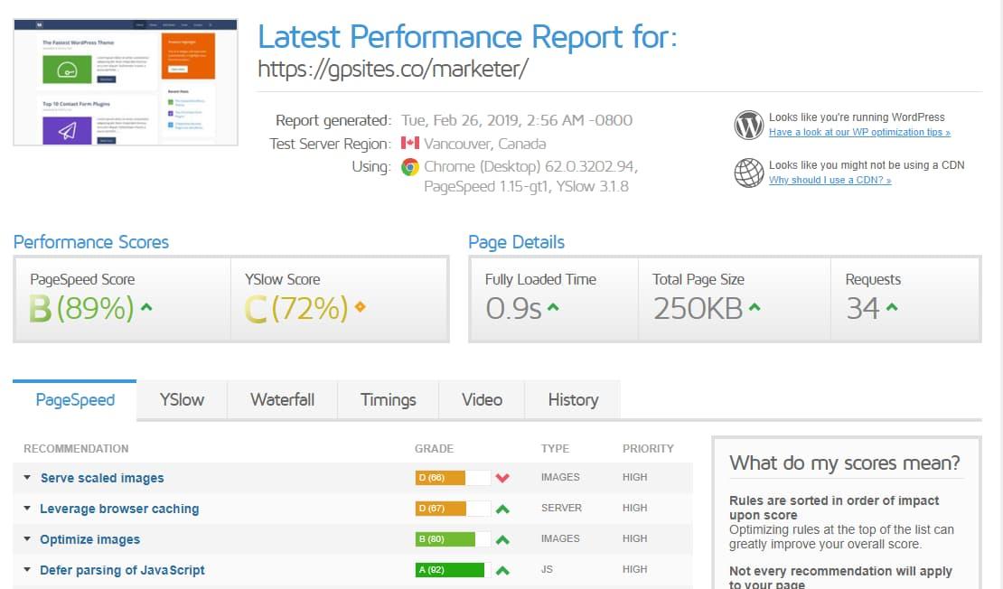 generatepress performance report (speed test)
