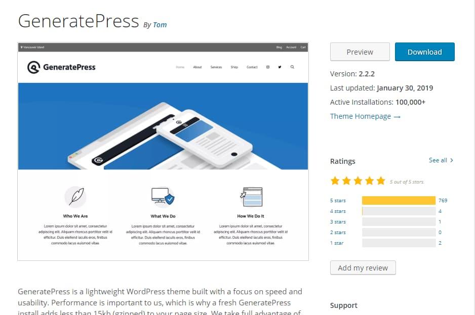 generatepress theme WordPress repository