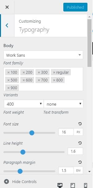 generatepress typography font customization