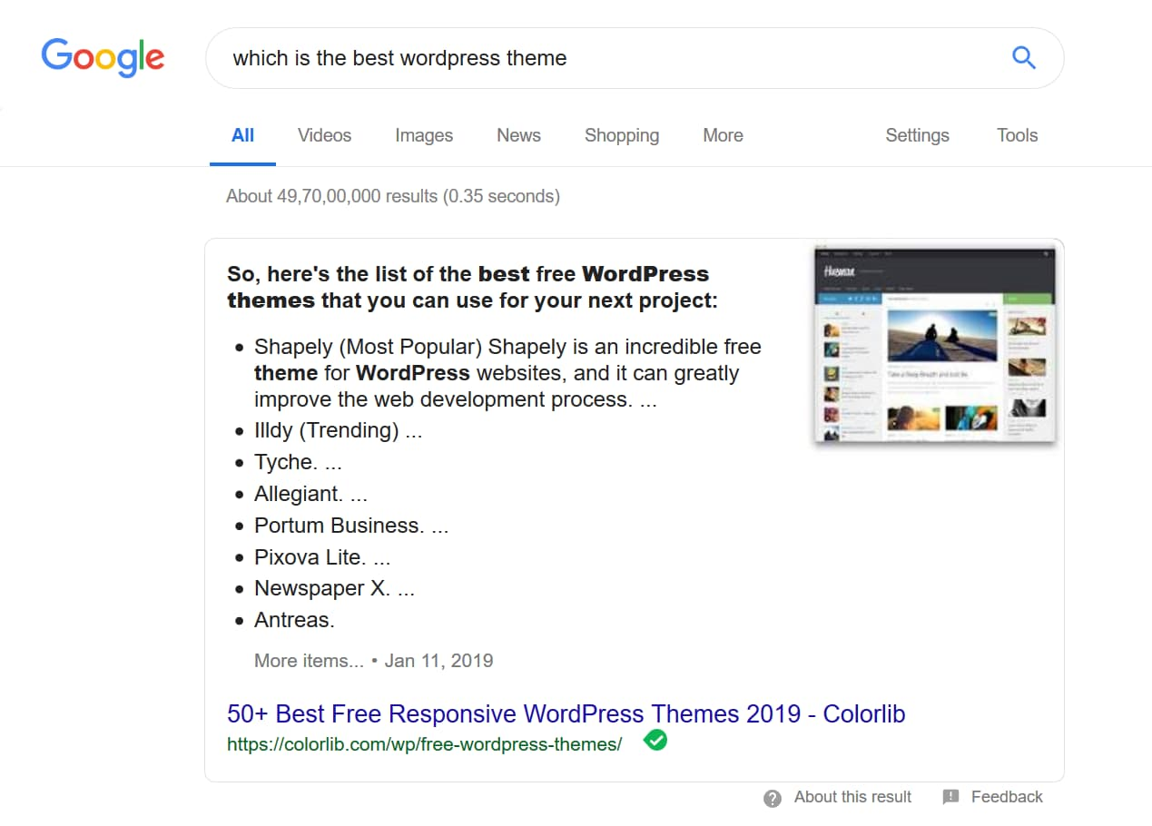 Google featured snippets example