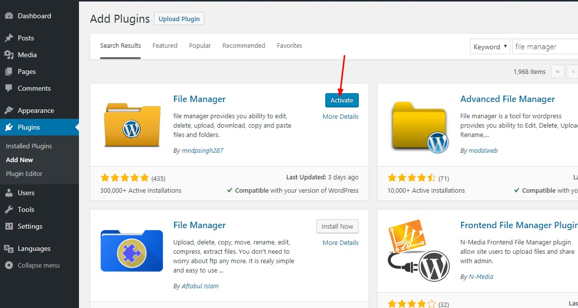 install and activate WP file manager plugin