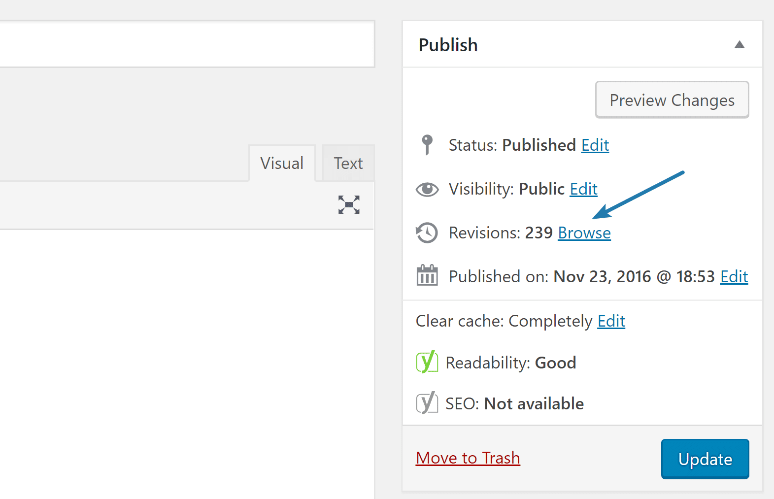 large number of post revisions in WordPress