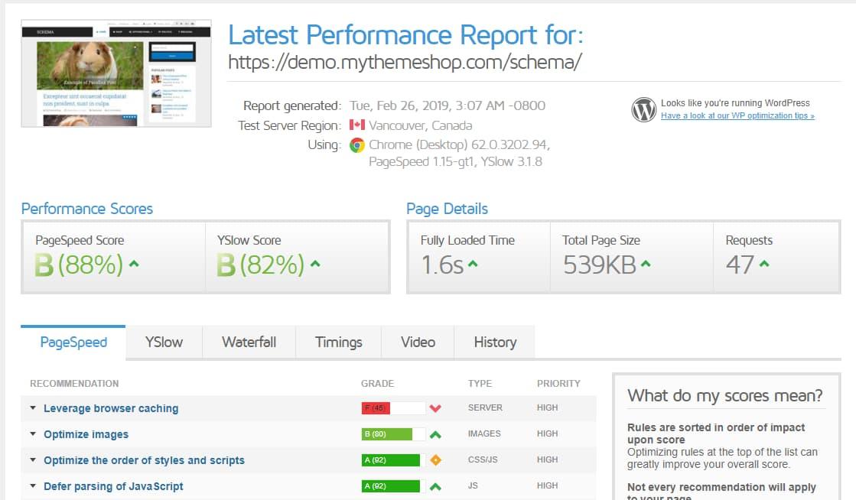 mythemeshop mts schema performance report (speed test)