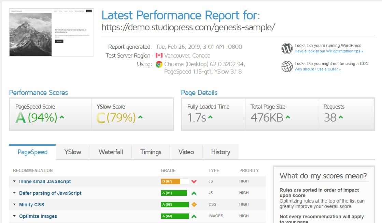 studiopress genesis framework performance report (speed test)