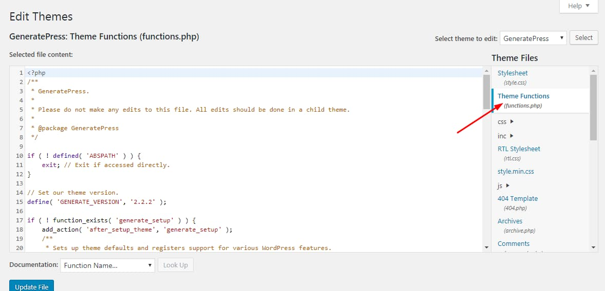 theme functions.php file