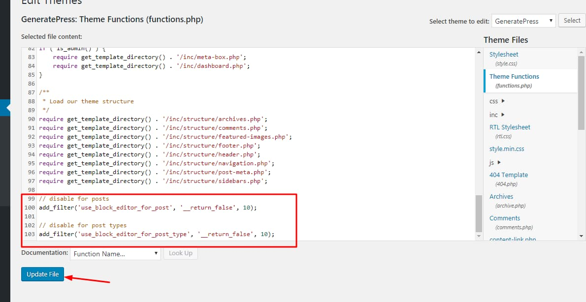 update theme functions.php file with classic editor code