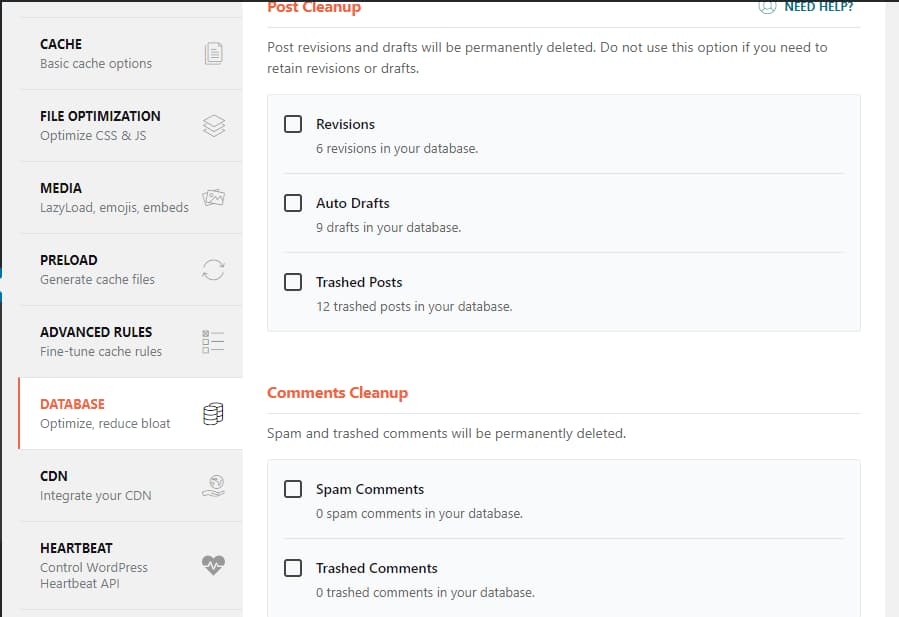 WP Rocket database settings
