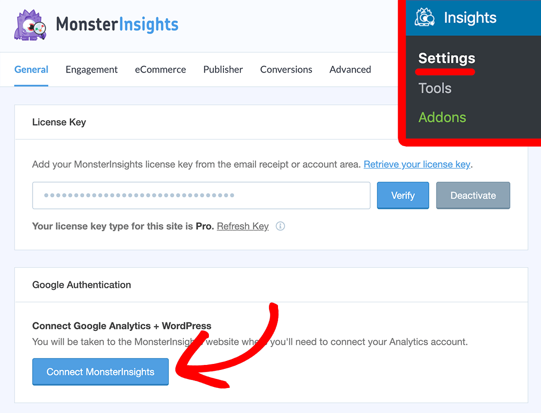 connect monsterinsights with google analytics in WordPress