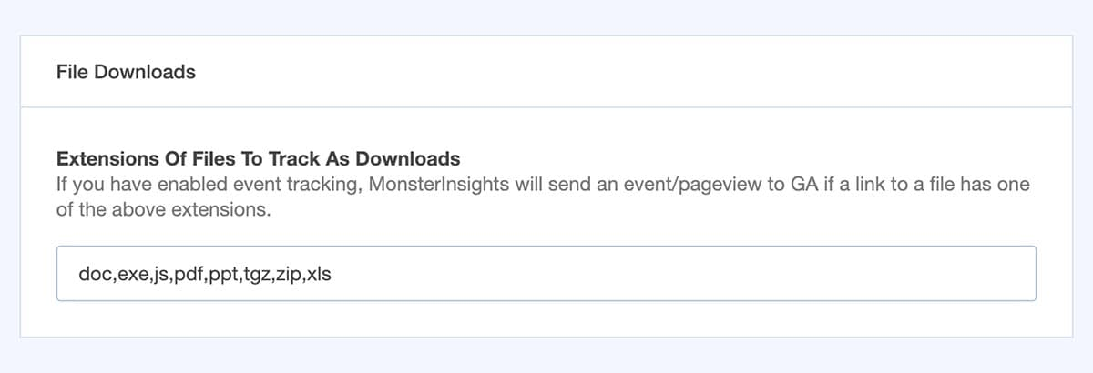 enable file downloads tracking in monsterinsights