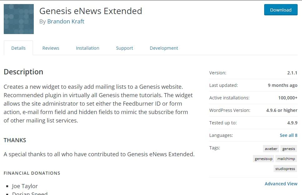 genesis enews extended