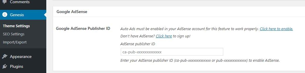 genesis framework google adsense integration
