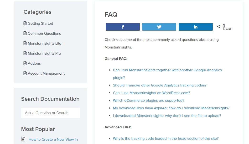monsterinsights faqs