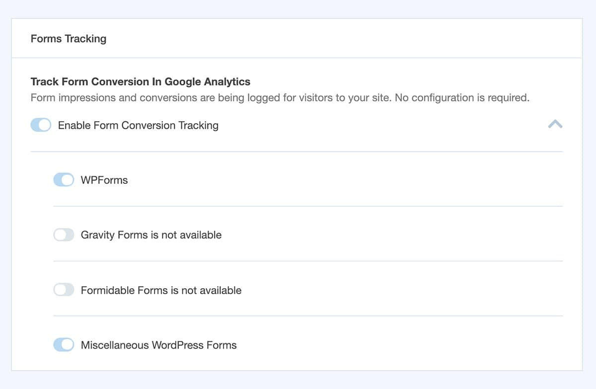 monsterinsights form conversions tracking