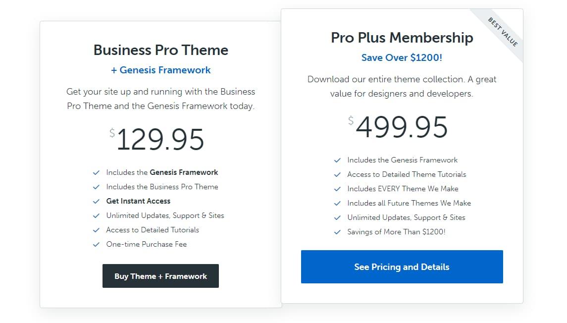 studiopress genesis framework pricing