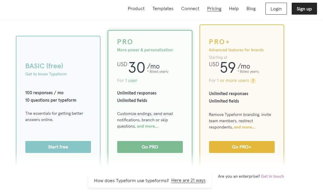 wpforms vs typeform plans and pricing