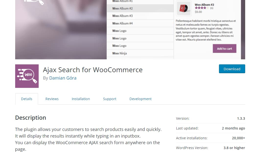 ajax search for woocommerce plugin