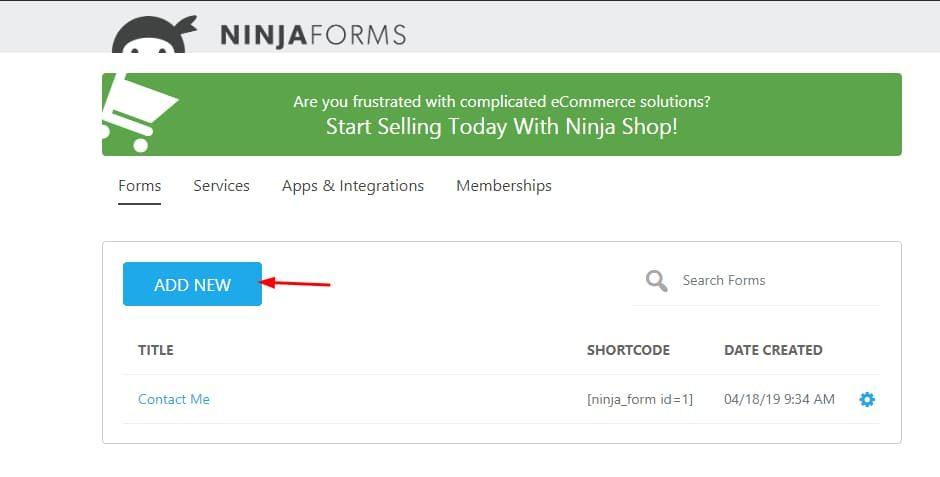 create new form using ninja forms