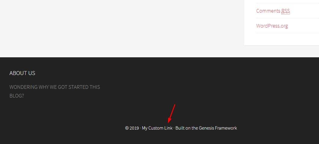edit genesis framework footer credits using php code