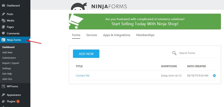 ninja forms dashboard