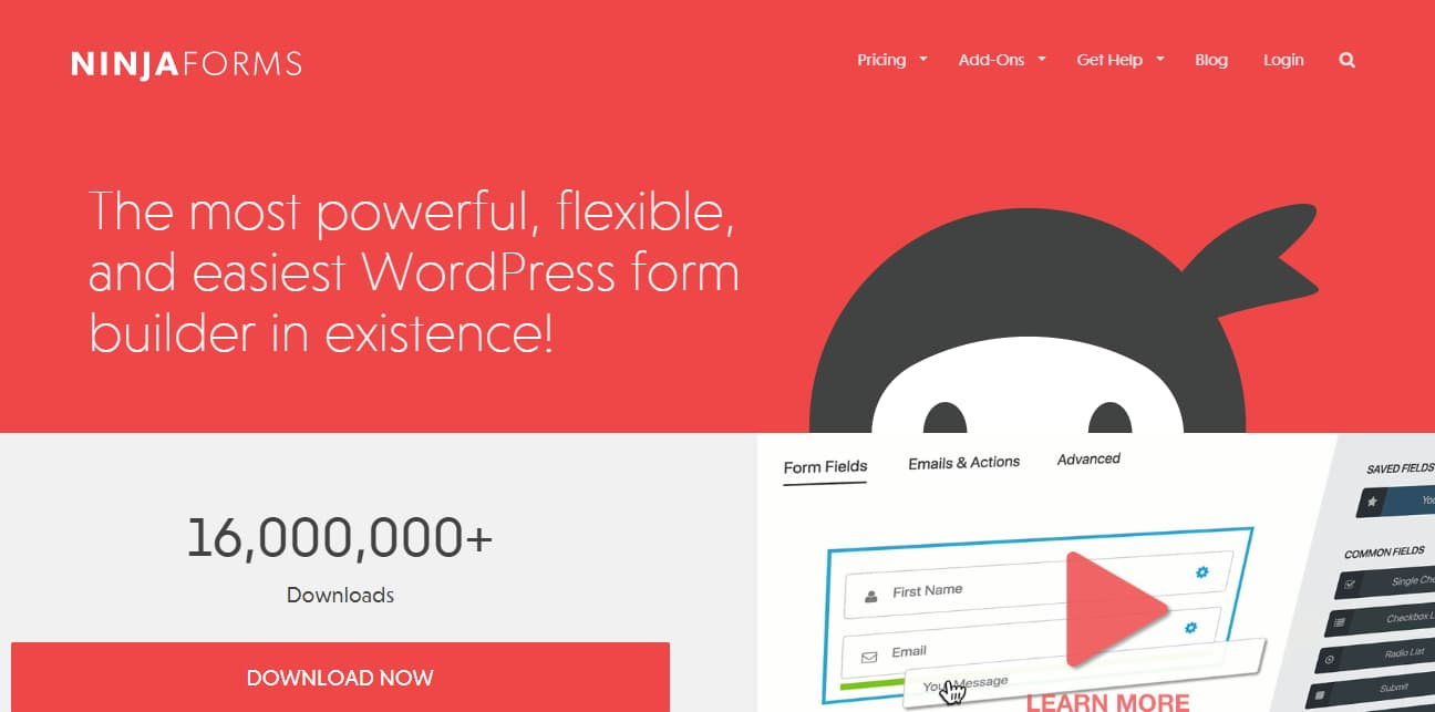 ninja forms - easy and powerful wordpress forms builder