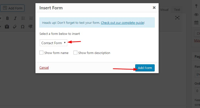 select form to insert in wpforms