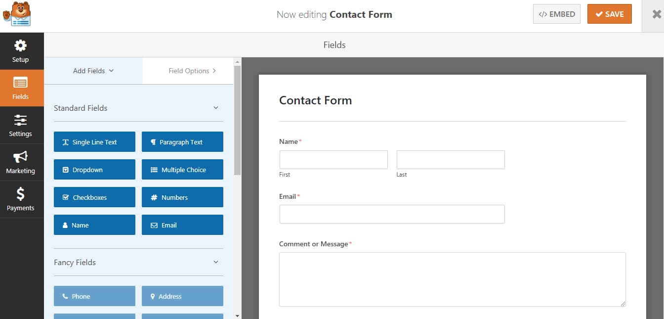 wpforms drag and drop form builder