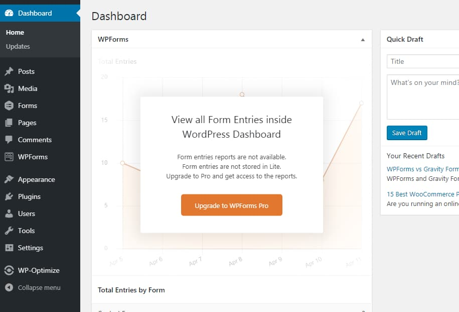 wpforms form entries and conversion reports