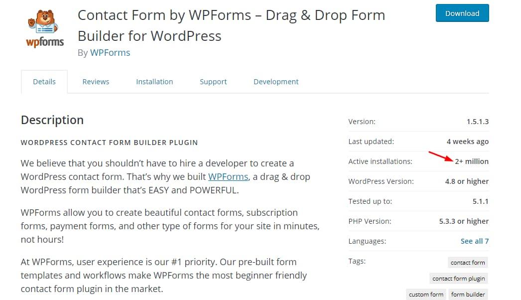 wpforms active installs